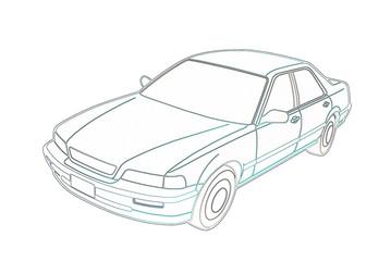 Honda Legend na białym tle grafika. Kontury.