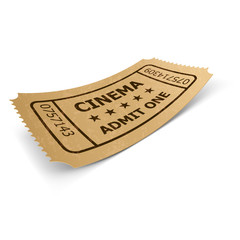 Cinema ticket isolated on white.
