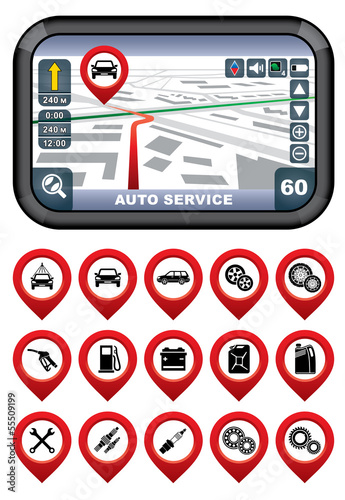 GPS navigator with the pointer autoservice