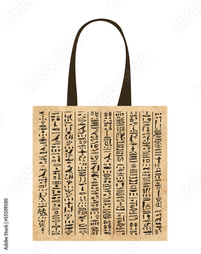 Paper shopping bag with egypt hieroglyphs for your design