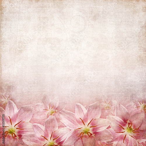 old  paper texture with lilies