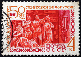 Postage stamp Russia 1969 Partisans and Sword