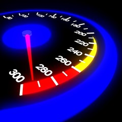Speedometer isolated on black