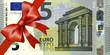 5 Euroschein mit breiten Band an Ecke