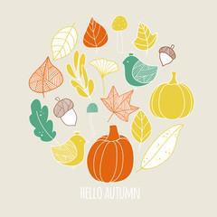 Cute autumn set. Vector illustration