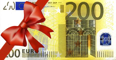200 Euroschein mit breiten Band an Ecke