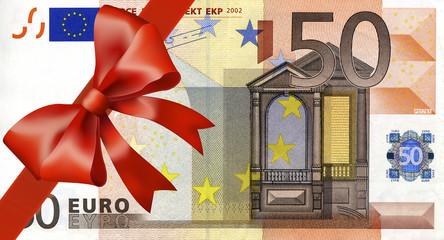 50 Euroschen mit breiten Band an Ecke