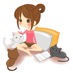 Cute little girl playing with little kittens in white background