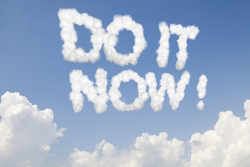 Do it now concept text in clouds