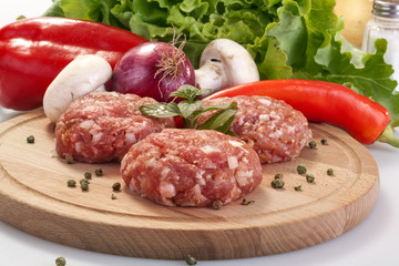 burgers with fresh vegetables, herbs and salad