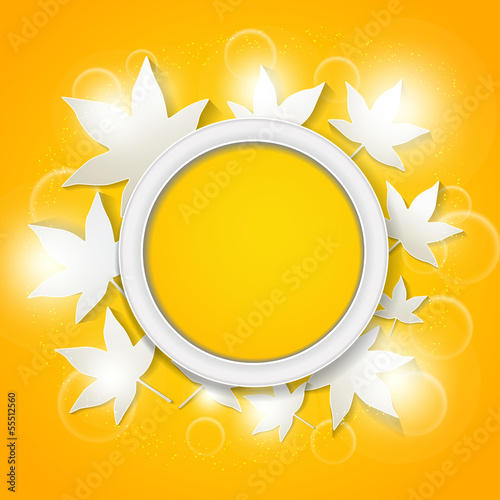 round frame with abstract autumn leaves background