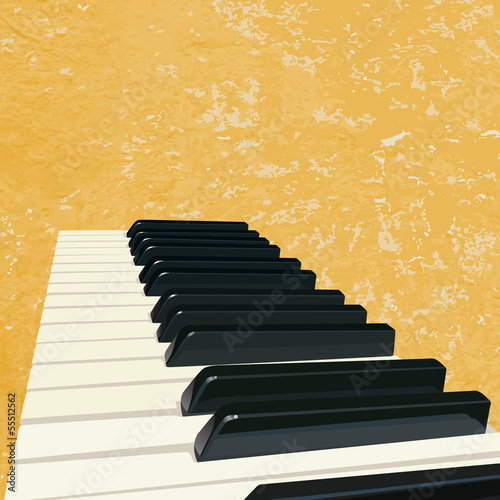 grunge music background with piano keys