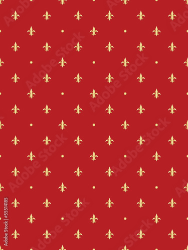 abstract red seamless pattern with royal lilies