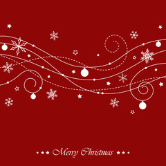 christmas swirls on red background