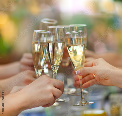 Papiers peints Vin People holding glasses of champagne making a toast