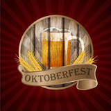 Oktoberfest vintage design, Vector illustration.