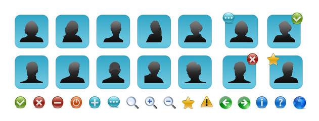 Complete set of users icon with silhouettes of people