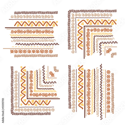 Design elements with ethnic handmade ornament