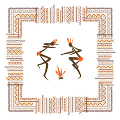 Ancient tribal people, ethnic ornament frame for your design