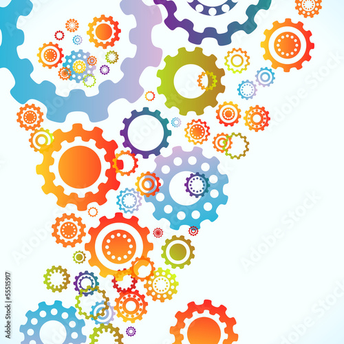 Colored cogwheels vector abstract background