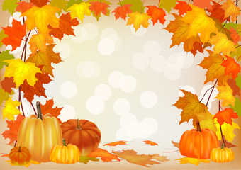 Autumn pumpkin holiday postcard