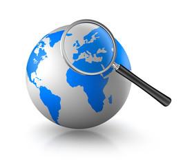 Globus mit Lupe