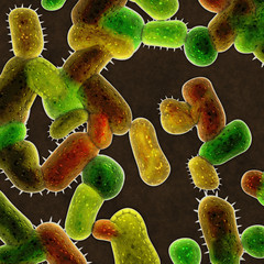 3d render illustration of colorful bacteria
