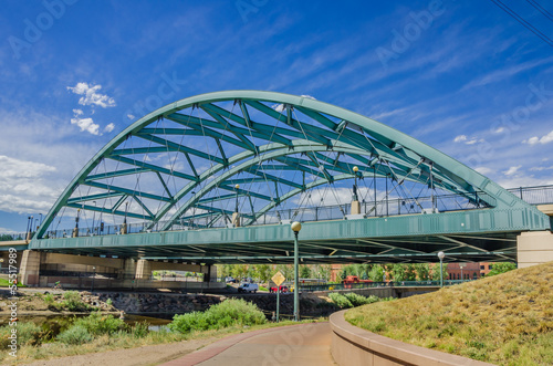 Iron Bridge against Blue Sky in Denver