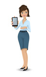 Business woman with touch pad poster