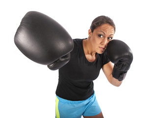 boxing woman on a white background