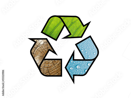 recycling logo / recycle symbol with natural textures