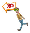 hypnotized man attracted by a big sale, vector illustration