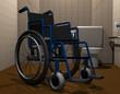 Rollstuhl in einer behindertengerechten toilette