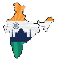 Map of India with flag and Taj Mahal