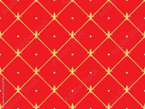 red seamless pattern with golden royal lilies