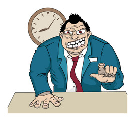 Angry boss, with clock, vector illustration