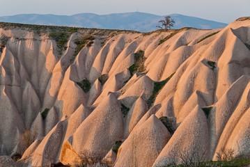 Landscape with sandstone formations in Cappadocia, Turkey