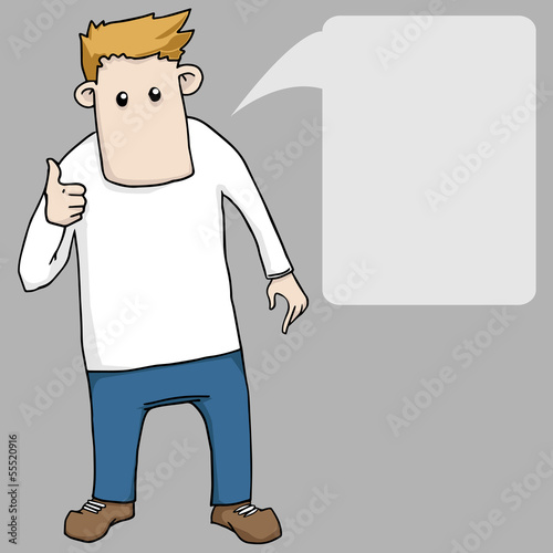 cartoon boy giving thumbs up with spech bubble