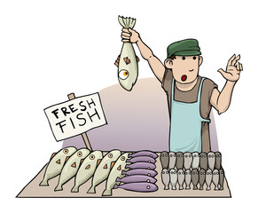 cartoon fish seller, holding a fish