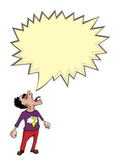 Angry man shouting, with speech bubble