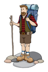 Tourist with large backpack and a walking stick