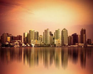 Colorful San Diego California skyline at sunset