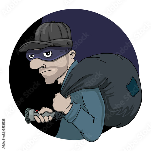 cartoon Bulgar with sack and flashlight