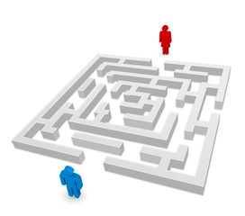 maze - labyrinth person man and woman 3d icon