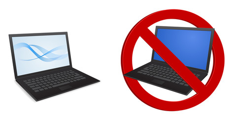 laptop 3d icon forbidden sign