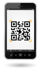 smartphone with qr-code icon
