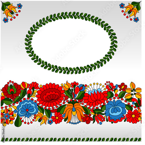 Hungarian traditional folk ornament invitation card template