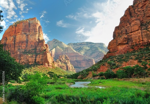 Zion Canyon, with the virgin river - 55522556