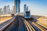 Dubai Metro. A view of the city from the subway car - 55522959