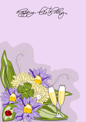Geburtstag, Karte mit Blumen und Sekt